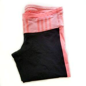 Lululemon black pink cropped yoga leggings 12